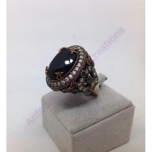 Δαχτυλιδι αντικε   ασημενιο 925 χειροποιητο με μια μεγαλη πετρα μπλε ζαφειρι και ζιρκονια