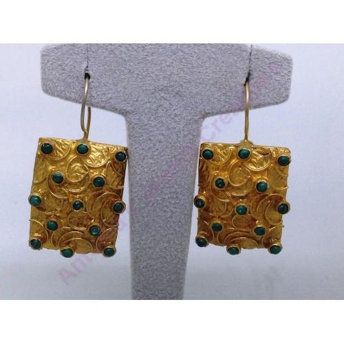 Σκουλαρίκια τεραγωνα βυζαντινα διπλης επιχρυσωσης  χειροποιητα