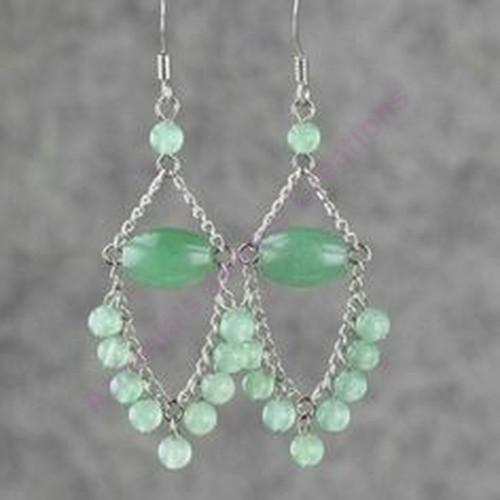 Σκουλαρίκια ασημενια 925  με πρασινο αβεντουρινο και πρασινο αχατη  εντυπωσιακα